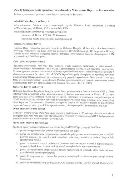 Zasady funkcjonowania i przetwarzania danych w notarialnym rejestrze testamentów